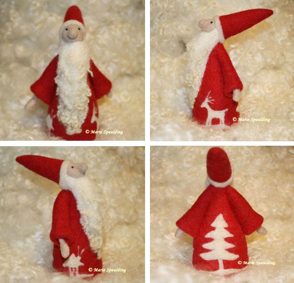 Needle Felted Nordic Santa by Marie Spaulidng, on www.livingfelt.com/blog