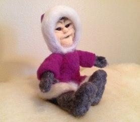 Needle Felted Eskimo doll by Ann Louise Brandly on www.livingfelt.com/blog