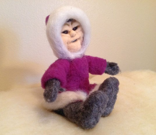 Needle Felted Eskimo doll by Ann Louise Brandly on www.livingfelt.com/blog