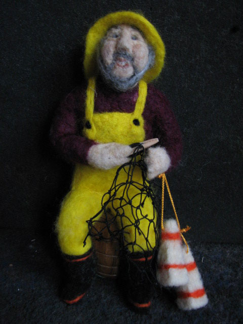 Needle Felted Fisherman Doll by Deb Sponagle Taylor on www.livingfelt.com/blog