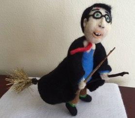 Needle Felted Harry Potter by Jackie Bartolini Banike on www.livingfelt.com/blog