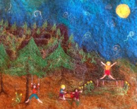 Felted picture of kids playing by Bo Thrasher on www.livingfelt.com/blog
