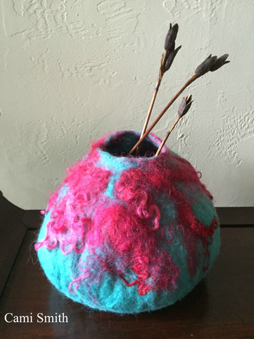 Wet Felted Vessel by Cami Smith  on www.livingfelt.com/blog