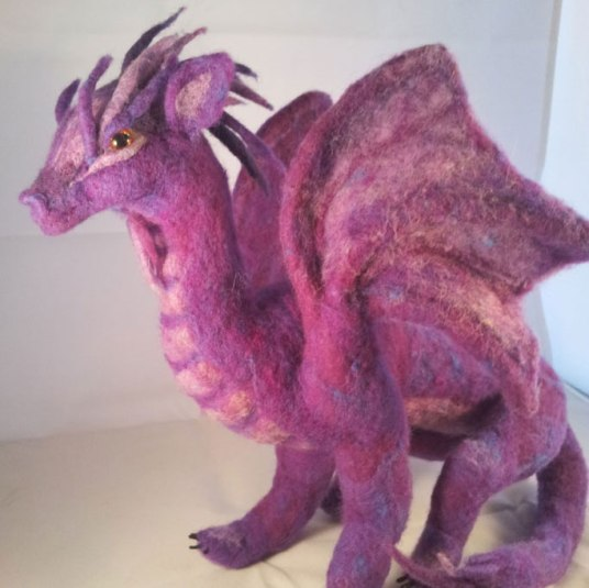 Needle Felted Purple Dragon by Caprice Willert on www.livingfelt.com/blog