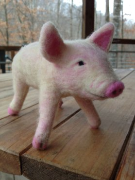 Needle Felted Piglet by Chris Armstrong on www.livingfelt.com/blog