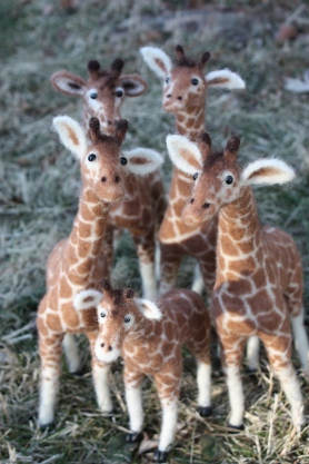 Needle Felted Giraffe's by Holly Kingman on www.livingfelt.com/blog