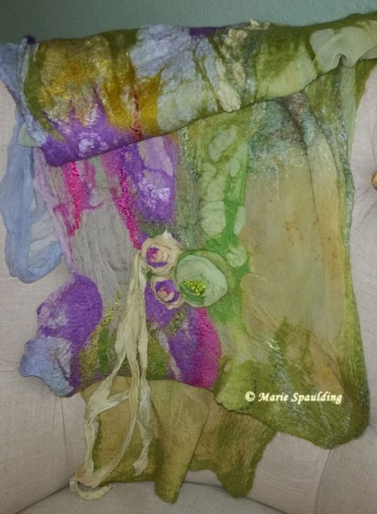 Nuno Felt Scarf  Shawl or Wrap by Marie Spaulding of www.livingfelt.com/blog