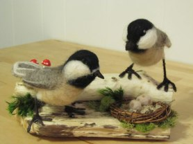 Needle Felted Chickadees by Danielle Sadowski on www.livingfelt.com/blog
