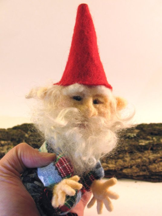 Needle Felted Gnome Finger Puppet by Jessie Dockins on www.livingfelt.com/blog