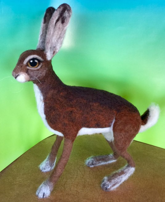 Needle Felted Hare by Julie Christensen King with MC-1 Felting Batts on www.livingfelt.com/blog