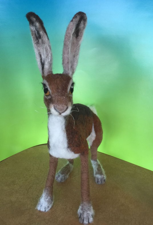Needle Felted Hare  Rabbit by Julie Christensen King  on www.livingfelt.com/blog