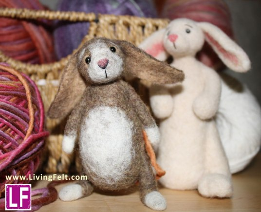 Needle Felted Bunny Bunnies by Marie Spaulding on www.livingfelt.com/blog