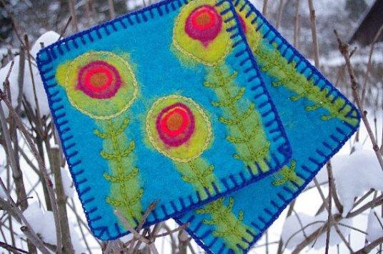 Felted Pot Holders by Terts Al on www.livingfelt.com/blog