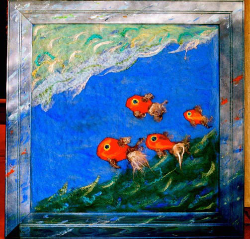 Needle Felted Ocean Art by Cheryl Bowen and South Alabama Second Graders featured on www.livingfelt.com/blog