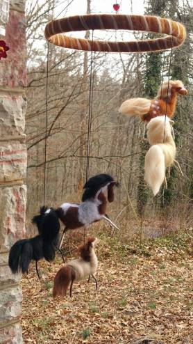 Needle Felted Horse Mobile by Lisa Bondurant featured on www.livingfelt.com/blog