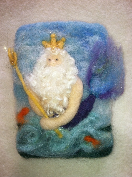Needle Felted King Neptune Wall Hanging by Anne Franklin featured on www.livingfelt.com/blog