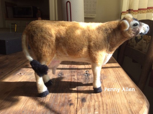 Needle Felted Cow by Penny Allen - Jersey Dairy Cow Realistic on www.livingfelt.com/blog