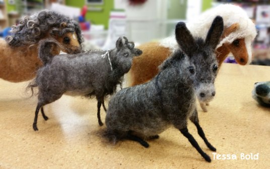Needle Felted Donkey By Tessa Bold, used Living Felt MC-1 Felting Batts