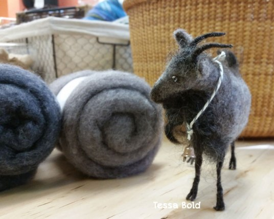 Needle Felted Goat By Tessa Bold, used Living Felt MC-1 Felting Batts