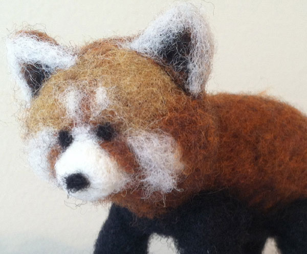 Needle Felted Red Panda by Anne Franklin on www.livingfelt.com/blog