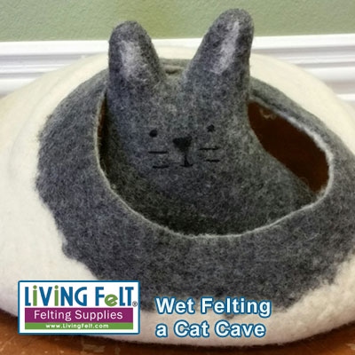 wet felted cat cave tutorial or kit