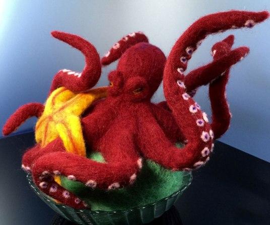 Needle Felted Octopus vs. Starfish by Kathleen Dodge De-Haven on www.livingfelt.com/blog