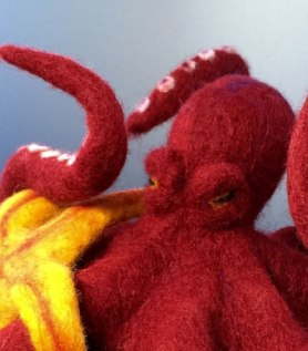 Needle Felted Octopus vs. Starfish by Kathleen Dodge De-Haven on www.livingfelt.com/blog