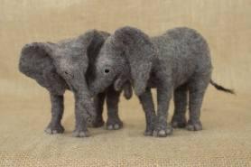 Needle Felted Baby Elephants by Megan Nedds on www.livingfelt.com/blog