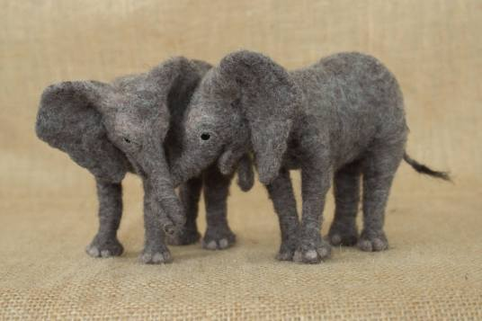 Needle Felted Baby Elephants by Megan Nedds on www.livingfelt.com/blog