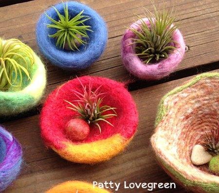 Patty-Lovegreen Felted Pots for Air Plants on www.livingfelt.com/blog