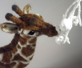 Needle Felted Giraffe by Tammy Saulnier on www.livingfelt.com/blog