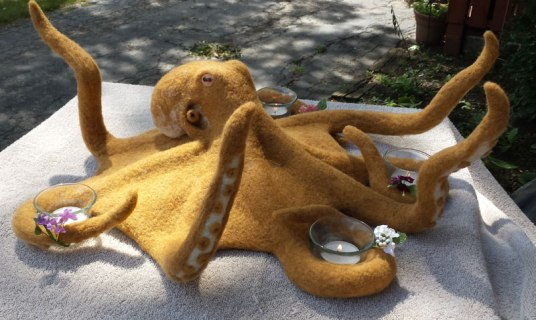 needle felted octopus by Sharon May