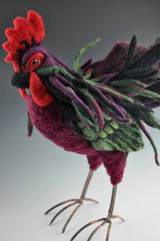Needle Felted Rooster by Jennifer Field of Jennifer Field Studios featured on www.livingfelt.com/blog