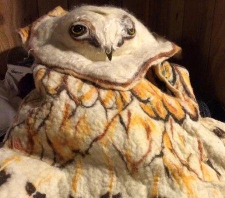 Felted Owl Cape by Maggie Nutting on www.LivingFelt.com/blog