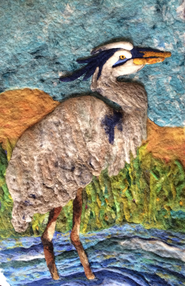 Debbie Gedayloo Needle Felged Bird Wall Hanging on www.livingfelt.com/blog using MC-1 Felting Batts and the Addiquick Felting Tool
