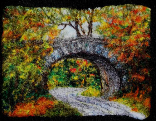 Felt Picture of bridge by Lorraine Cathey, made with felting batts and corriedale from www.livingfelt.com