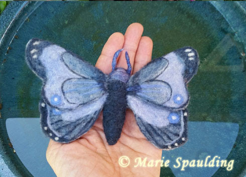Needle Felted Butterfly by Marie Spaulding featured on www.livingfelt.com/blog