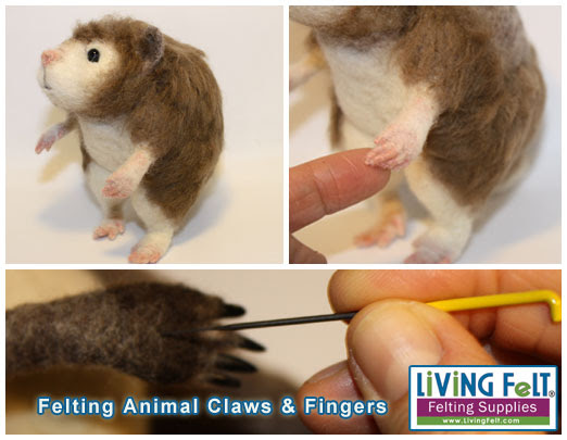 Free Tutorial: Felting Animal Claws and Fingers by Marie Spaulding featured on www.livingfelt.com/blog
