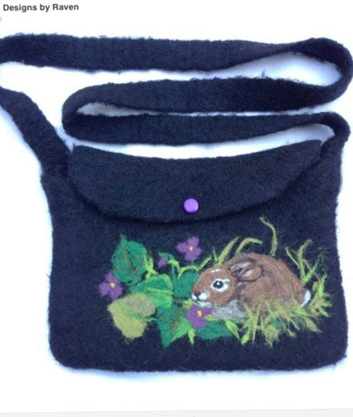 Needle Felted Bunny Purse by Janet Ludin featured on www.livingfelt.com/blog