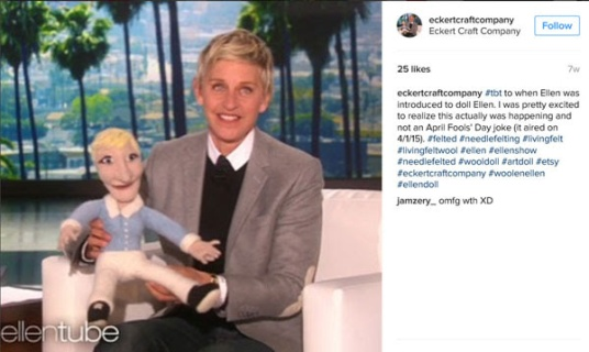 Needle Felted Ellen Degeneres Doll by Jeanine Eckert featured on www.livingfelt.com/blog.