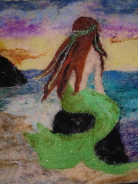 Needle Felted Mermaid Painting by Anne Zimmerman featured on www.livingfelt.com/blog