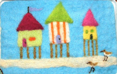 Needle Felted Beach Bungalows by Ronda Ewald featured on www.livingfelt.com/blog
