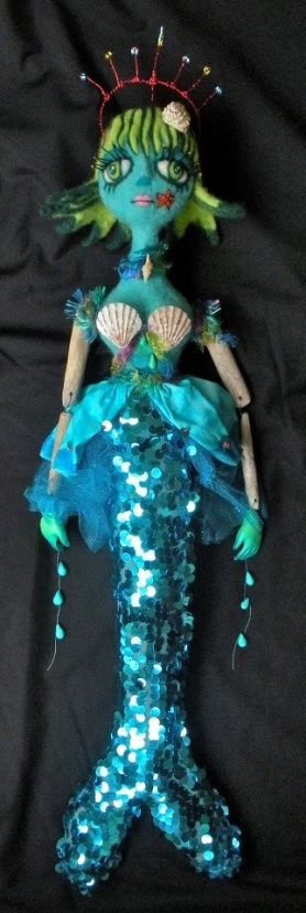 Needle Felted Mermaid Doll by Christine Benjamin featured on www.livingfelt.com/blog