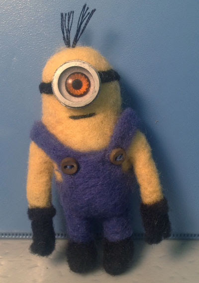 Needle Felted Minion by Sheryl Smith featured on www.livingfelt.com/blog