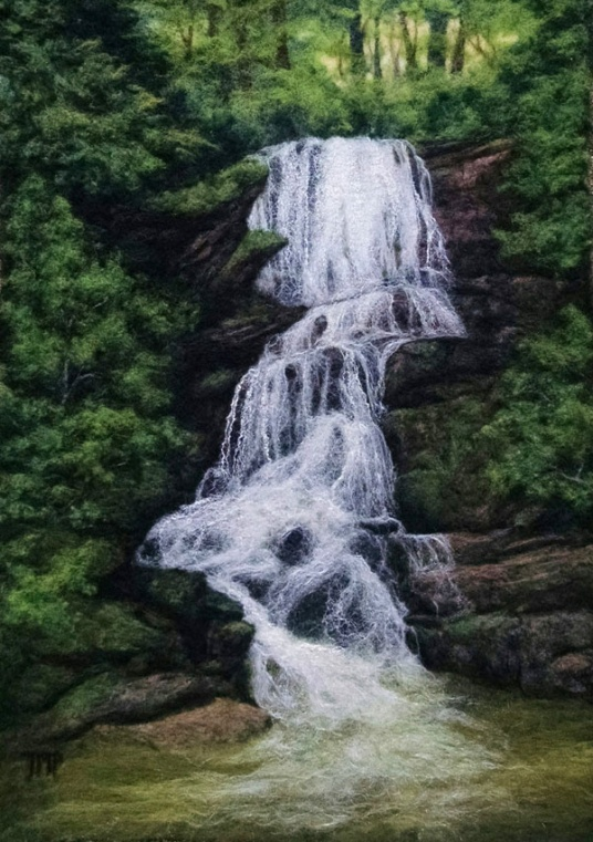 A Brilliant Felt Painting Little Bradley Falls Living