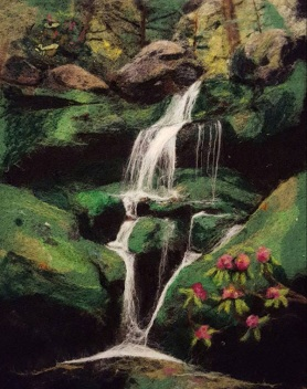 Stunning Felted Waterfall Picture by Sonja Weeks Oswalt featured on www.livingfelt.com/blog