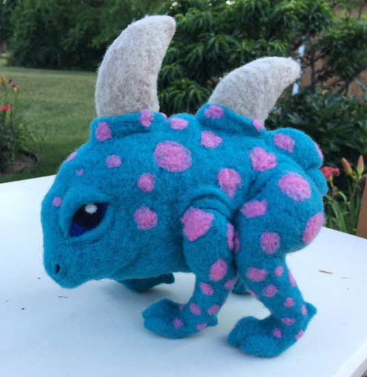Felted Monster by Shelly Schwartz featured on www.livingfelt.com/blog.