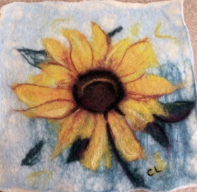 Gorgeous Felted Sunflower Picture by Cindy Lee featured on www.livingfelt.com/blog