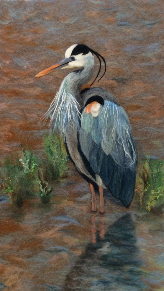 Needle Felted Blue Heron Painting by Sandi Atkins featured on www.livingfelt.com/blog