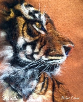 Felt Tiger Painting by Pauline Crouse featured on www.livingfelt.com/blog
